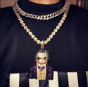 Fashion Iced Out Large Cartoon Clown Cosplay Pendant Necklace Mens Hip Hop Necklace Jewelry 76cm Gold Cuban Chain For Men Women