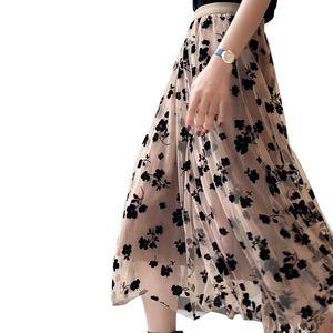 Women Floral Tutu Tulle Mesh Skirts Spring Elastic High Waist Flower Print Overlay Layered A Line Midi Skirt Female Clothes
