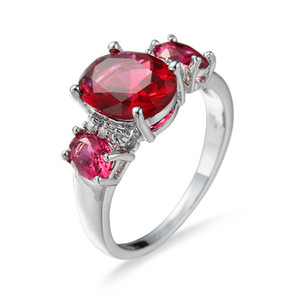 2020 Top Quality Created Red Round Crystal Finger Rings Elegant Brand Jewelry Austrian Crystal For Women