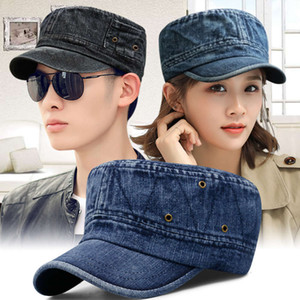men's Korean wash used denim breathable military outdoor sun shading flat top Hat women's leisure cap