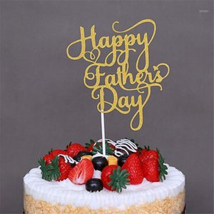 1PCS Happy Father 's Day Gold Paper Cupcake Toppers Mothers Fathers Day Happy Birthday Cakes Party Gifts Decoration1