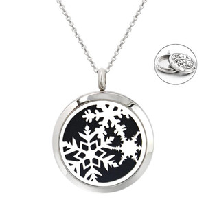 Star Cross snowflake dog 30mm diffuser locket twist screw Crystal pendant 316L Stainless Steel Perfume necklace chain 10pad