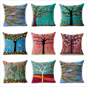 Floral Pillow Case Flower Tree Cotton Pillowslip Colorful Pillows Cover Flax Fluffy Home Decor Sofa Hot Sale 4 5qj UU