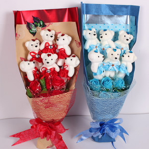 Valentines Day Bubble Bear Rose Flower Decoration Packaging Supplies Ice Cream Bear Wedding Birthday Party Decoration Gift w-00635