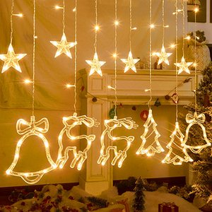Christmas Tree Elk  Bell Star Fairy Lights LED String Lights For Home Curtain Decor Wedding Xmas New Year Party Hanging Ornament
