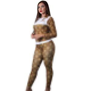 Nuovo abbigliamento femminile europeo e americano della marca della lettera di stampa della stampa della stampa della giacca a maniche lunghe casual vestito dei pantaloni