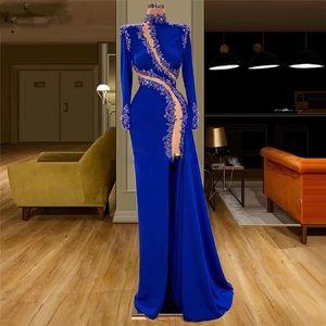 High Neck Royal Blue Evening Dresses Lace Appliques Side Split vestido de novia Satin Beaded Formal Prom Gowns