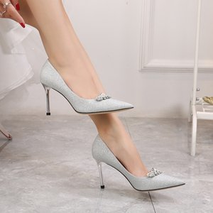 Hot Sale-Silver stiletto heel wedding shoes rhinestone bridal pumps pointed toe 6cm 8cm heel lady dress shoes size 35-41