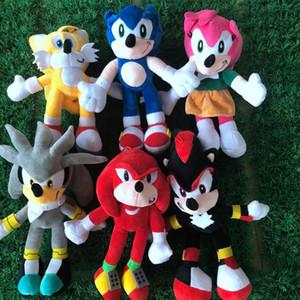 28 centimetri NNew arrivo Sonic the hedgehog di Sonic Tails Knuckles the Echidna animali farcito gioca il regalo EWF3032 trasporto libero