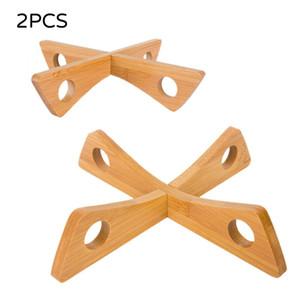 2 PCS / Set Bandeja de madera Rack Tabla desmontable Matetas de mesa Pote de cocina Aislado Caliente Plato de refrigeración para el hogar Titular de Gadget Casserole Pad