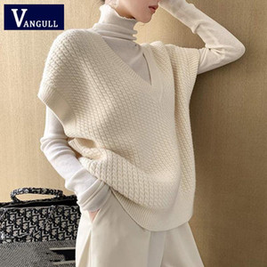 Vangull Sweater Vest Women Autumn Winter New Oversize Wild Knitted Pullovers Solid Color Vintage Female Sleeveless Knitwear Tops
