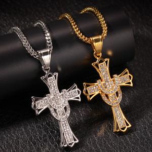 Hip Hop 5A Zirconia Cross Crystal Colgantes Plateado Plateado Cadena Collar Hombres Mujeres Gargantillas Collares Moda Boda Fiesta Joyería Regalos