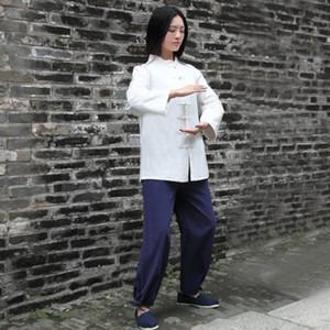 Roupas Yoga Mulheres Tai Chi Kungfu Meditação Conjunto de Linho Chinês Tradicional Solto Jogging Outfit Outfit Tracksuit Camisola + Pant