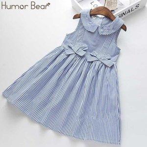 Humour Bear Bear Summer Girls robe rayé arc princesse robe filles collier de poupée sans manches pour enfants vêtements1