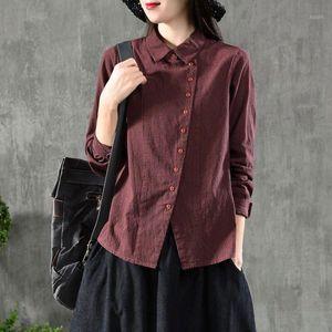FJE Neue Frühling Frauen Hemd Plus Größe Langarm Casual Damen Tops Baumwolle Plaid Ableger Kragen Vintage Bluse Hemden D71