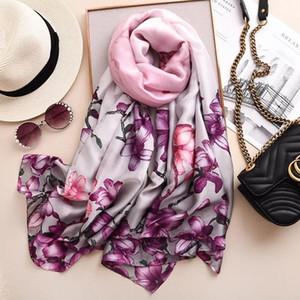New style women fashion Popular beach quality shawl silk lady Autumn and winter beautiful print luxury scarves hijab