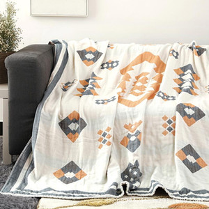100% Cotton Muslin Blanket For Bed Sofa Travel Breathable Soft Quilt Blanket Blankets Bedspread Throw Air-conditioning Printing