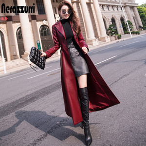 Nerazzurri Extra long trench coat for women Fit and flare plus size faux leather coats 5xl 6xl Womens fall fashion 2020