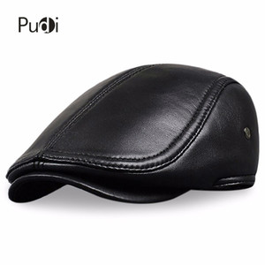 HL041 Men's Leather baseball Cap brand new style sheep leather beret newsboy belt hunting gatsby black caps hats C1121