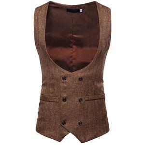 U Collar Autumn Winter Suit Vest Business Slim Fit Solid Casual Double Row Button Sleeveless Men