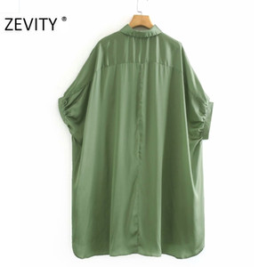 ZEVITY women fashion solid color casual loose long smock blouse shirts women batwing sleeve kimono blusas femininas tops LS7053 201201
