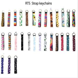 Neoprene wristlet keychain colourful printed wrist key belt sunflower strip leopard lanyard key ring long diving material keychains .