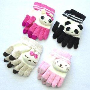 Luxury-Children Kids Winter Warm Thicken Boys Toddler Cute Cat Rabbit Mittens Imitation Cashmere Finger Gloves For Girls