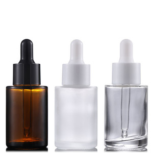 30ml Glass Packing Bottles Flat Shoulder Frosted Clear Amber Glass Essential Oil Serum Bottle with Glass Dropper WB3292