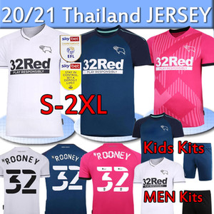 Derby County Soccer Jerseys 32 Rooney 20 2021 Lawrence Waghorn Bird Home Third Third Pink Kids Kits Mailleot De Football Shirts