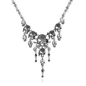 Skull Statement Nekclace Skeleton Csopaly Choker Necklace For Women Men Skull Bone Chain Jewlery Halloween Gift