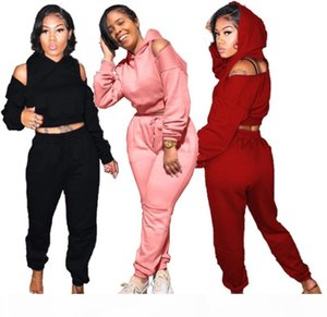 Women solid 2 piece set fall winter clothing sweatshirt pants sweatsuit crop top hoodies pullover leggings outfits outerwear bodysuits 2426