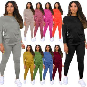 Plus size tracksuit outfits long sleeve 2 piece set jogger sportsuit shirt leggings outfits sweatshirt pants sport suit hot selling klw5726