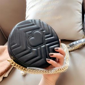 Designer bolsa mini-corrente de metal senhoras couro ombro bolsa de luxo marca de moda redonda pequena bolsa de mensageiro da carteira bolsa com moldura