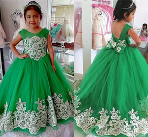 2021 Emerald Green Flower Girl Dresses For Wedding Big Bow Ivory Flowers Lace Cap Sleeve First Holy Communion Graduation Birthday Party Dres