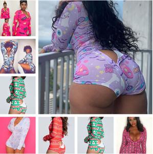 17 Color Mujeres Monos Mamélicos Diseñador Pijama Onesies Nightwear1 Body Hightout Button Flyny Hot Print V-cuello corto pantalones nocturnos