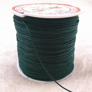 100 м рулона 0,8 мм Глубокий зеленый нейлоновый шнур нить китайский узел MACRame Bracte Braited String Diy Tassels Бисероплетение нить H JLLMHI