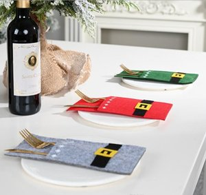 Tableware Storage Bag Knife And Fork Felt Bags Christmas Holders Santa Claus Belt Snowman Party Dinner Table Decorations Ornaments DHB3570