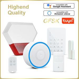 TUYA GFSK WIFI Home Security Smart Alarm System Kit de cambriolage Smart Life APP Appareil de télécommande ARM Désarmer Automatisation Ampoule Y1201