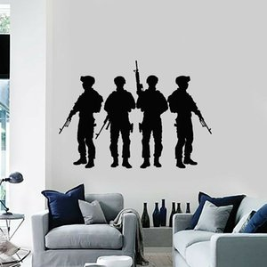 Soldiers Silhouette Wall Decal Military Army Weapons Vinyl Window Stickers Teens Kids Bedroom Playroom Man Cave Home Decor 1813