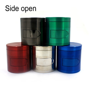 Zinc Alloy Smoke Grinder 4 Parts Side Opening Metal Herb Tobacco Grinders Wholesaler 63MM Smoking Accessories Fast Shipping