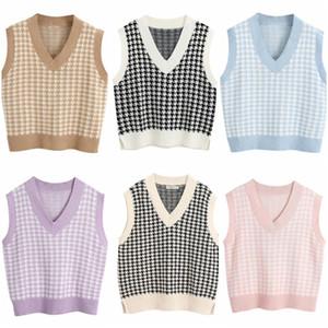 Модная клетчатка негабаритный губитель вязаный жилет свитер для женщин девушки винтажные без рукавов боковые вентиляционные отверстия женские жилеты