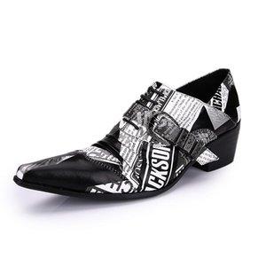 Big Size EU38-46! Rock Personality Leather Dress Shoes Men New Man Shoes 6.5cm Heels Business Men zapatos de hombre
