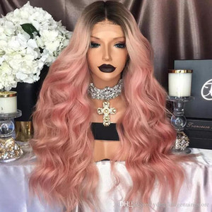 Fashion Ombre Pink Wig Kylie Jenner lace front synthetic wigs Glueless Wavy black root pink Heat Resistant Hair Women Wigs