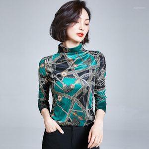 AOSSVIAO 2020 Automne Hiver Femmes Shirt Chemise Femme Chemisier Tops à manches longues Casual Turtlameneck Print Velours Veleur Vintage Blouses1
