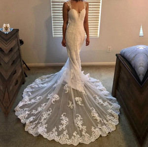 Setwell Sweetheart Mermaid Wedding Dresses Sleeveless Lace Appliques Floor Length Long Train Plus Size Bridal Gowns