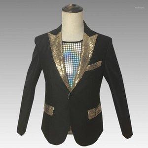 Fashion Presenter Stage Blazer Chaqueta de lentejuelas de oro solo botón masculino Slim Fit Party Party Party Abrigos Nuevo hombre vestido banquete Talicoat1