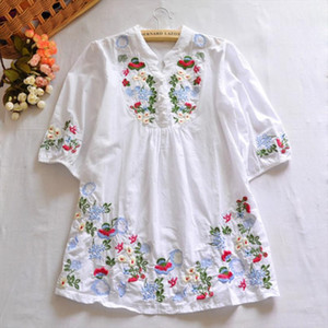 Vintage 70s Women Colorful Mexican Ethnic Gypsy Dress Floral Embroidered Boho Blouse Blusas Camisas Femininas Drop Shipping