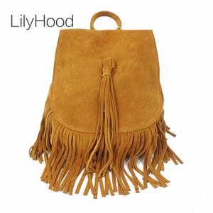Lilyhood 2020 mujeres de cuero genuino gamuza femenina mochila roca bohemian boho chic bucket fringe marrón folk rucksuck bolsas A1113