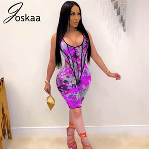 Joskaa 2020 autumn tie dye printed Digital Printing sleeveless sexy low neck Sports Suit bodysuit women's two-piece set Y1123