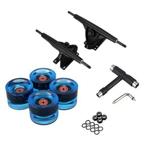 7inch Longboard Truck Wheels Set 4Pcs PU Wheels 8Pcs Bearing T Skateboard Tool Skateboard Truck Wheel Combo